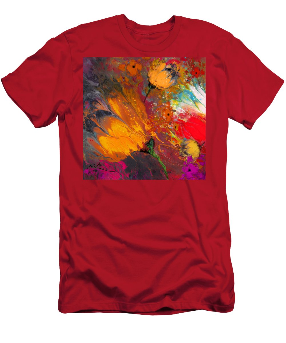 Floral Men's T-Shirt (Athletic Fit) featuring the painting Flower Power by Miki De Goodaboom