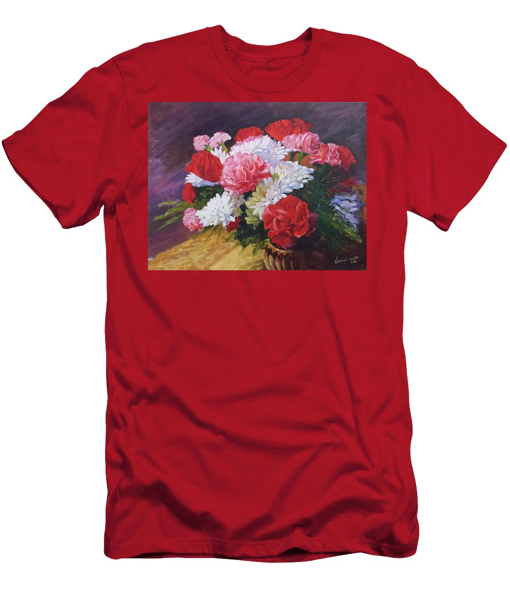 Flowers-lebanon-lebanese-canada-oil-painting- Men's T-Shirt (Athletic Fit) featuring the painting Flowers Arrrangement 1 by Ghazi Toutounji