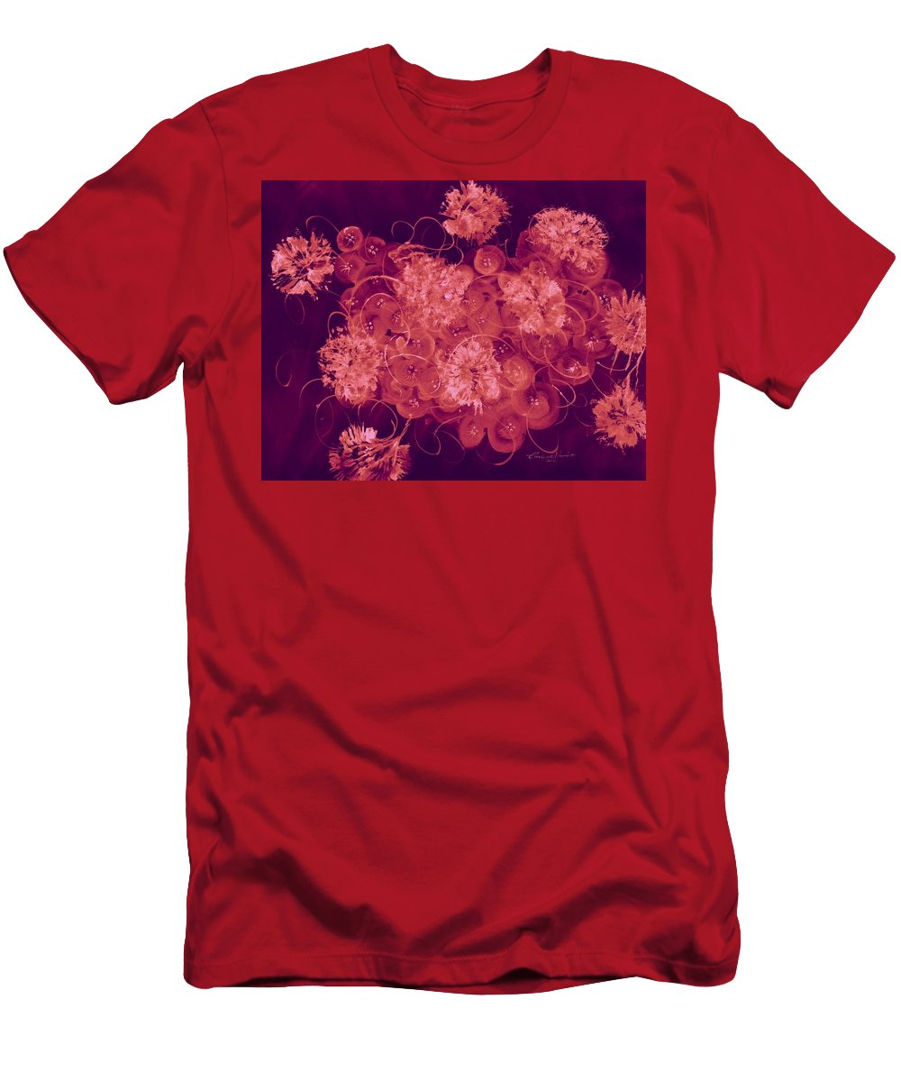 Abstract Men's T-Shirt (Athletic Fit) featuring the digital art Flowers, Buttons And Ribbons -shades Of Burbundy Rose by Carlene Harris