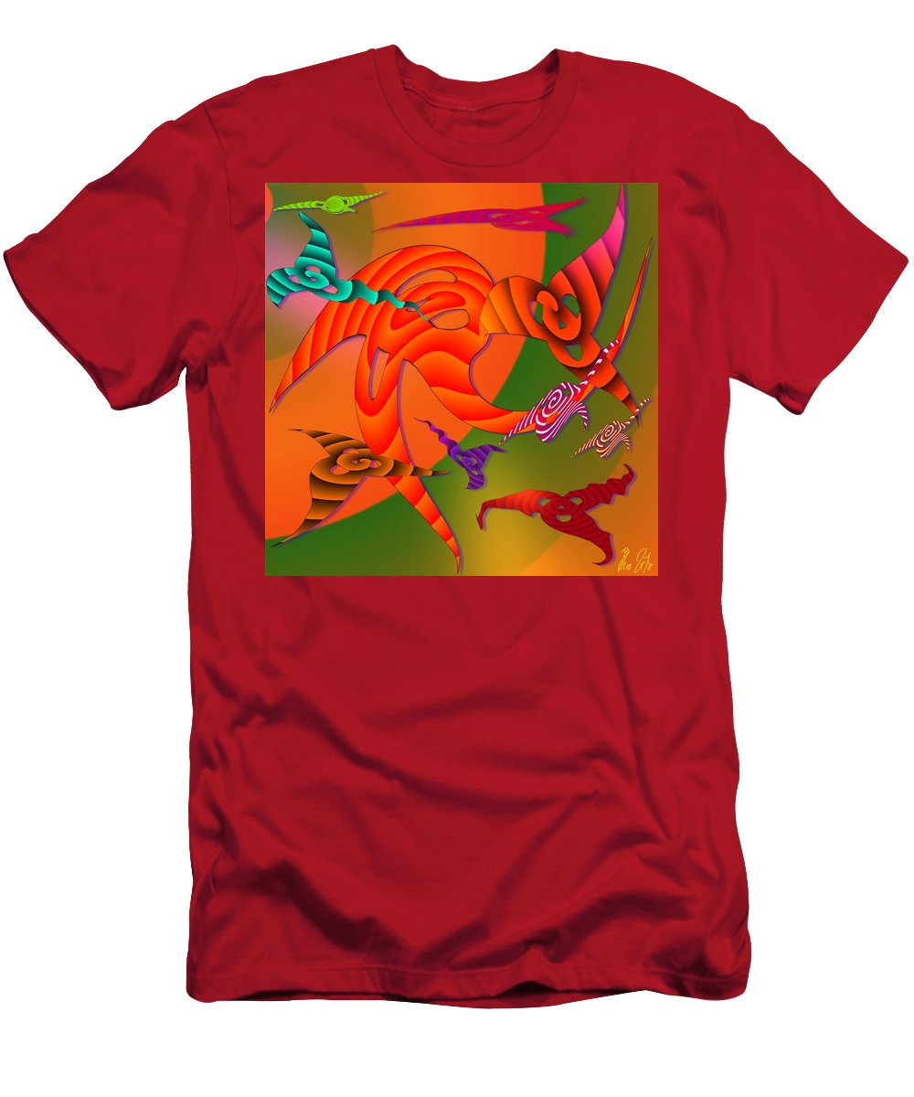 Triangles Men's T-Shirt (Athletic Fit) featuring the digital art Flying Triangles by Helmut Rottler