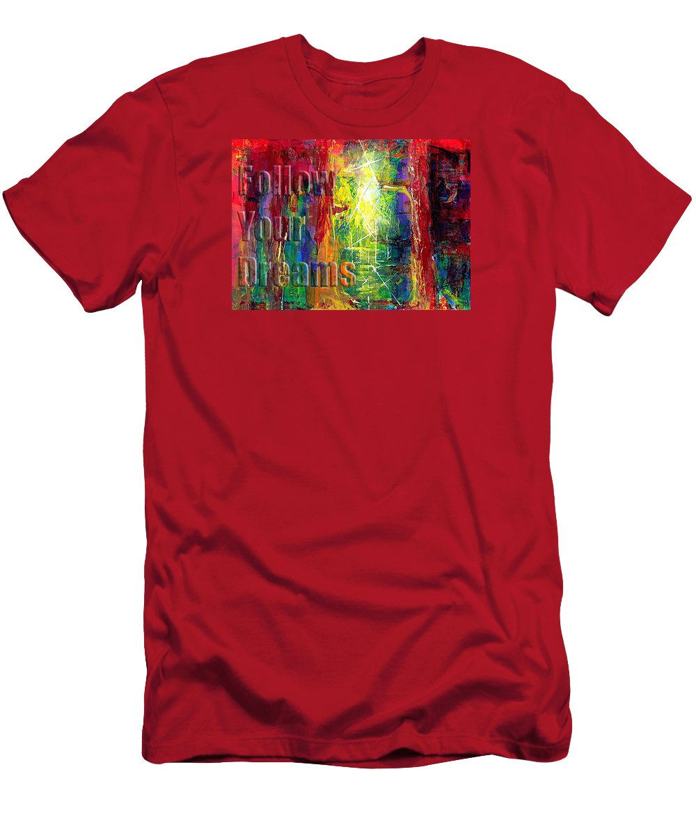 Greeting Cards T-Shirt featuring the painting Follow Your Dreams Embossed by Thomas Lupari