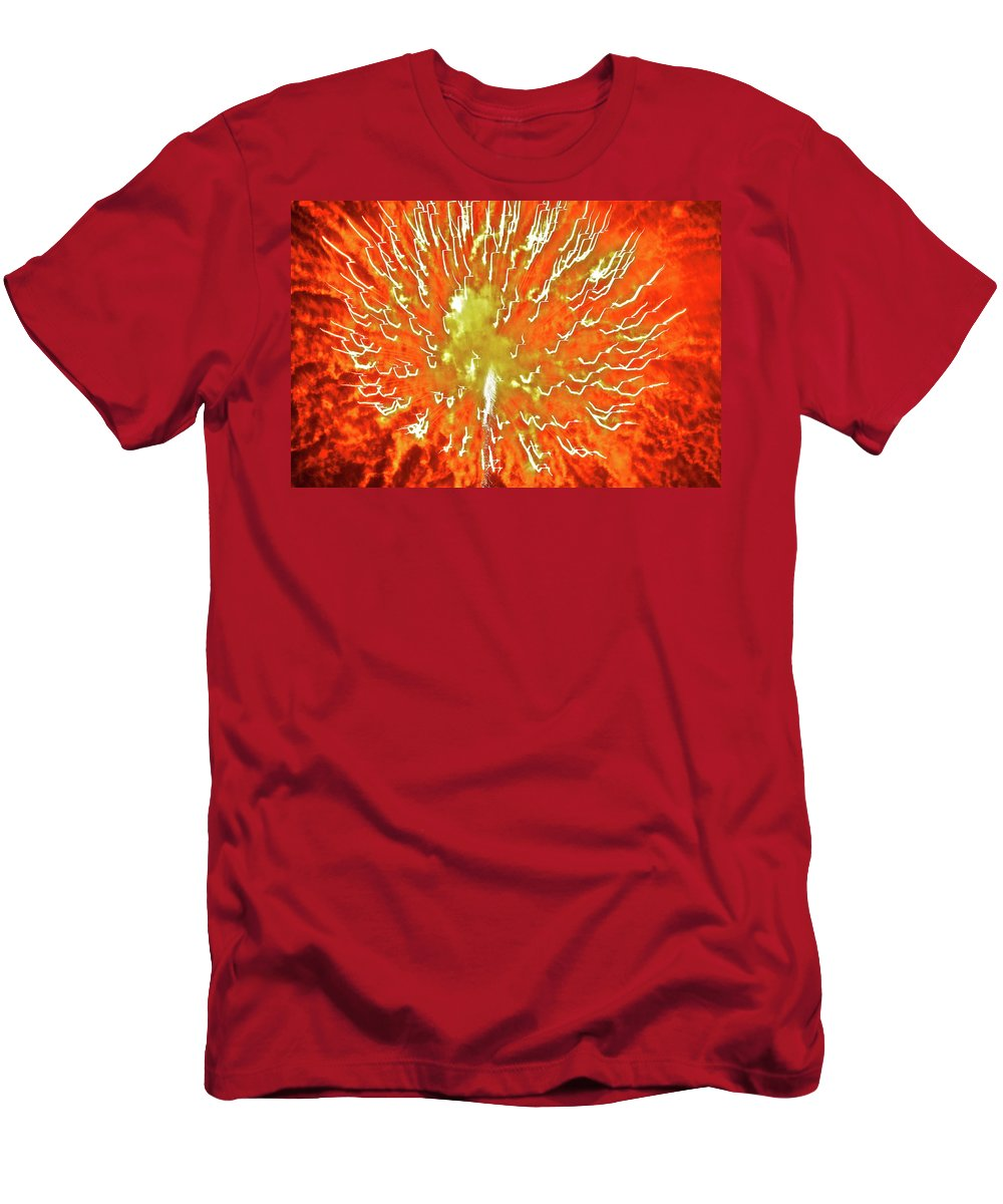 Fire Men's T-Shirt (Athletic Fit) featuring the photograph Fourth Of July 2 by Diana Hatcher