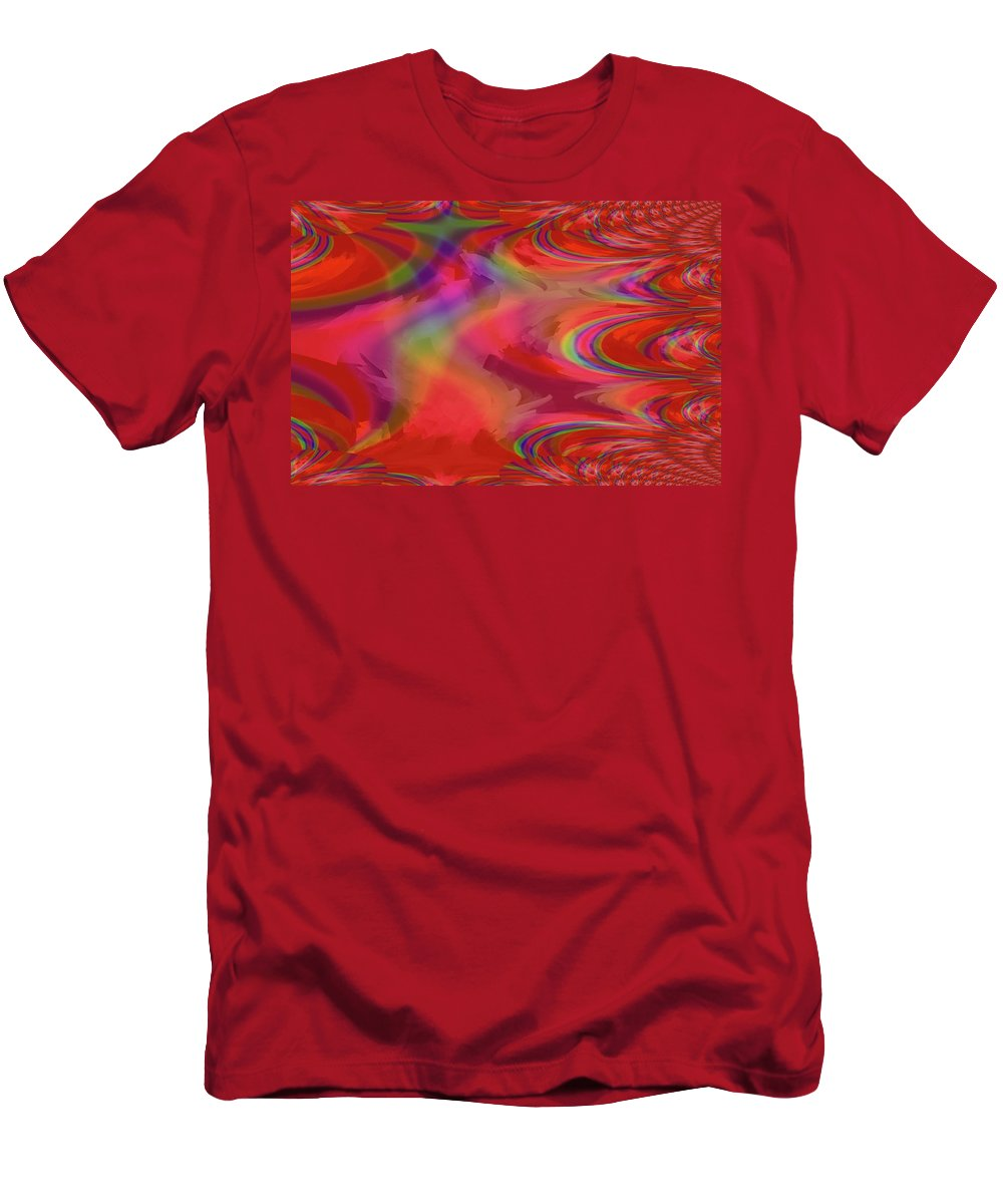 Abstract Men's T-Shirt (Athletic Fit) featuring the photograph Fractal Red by Jeff Swan