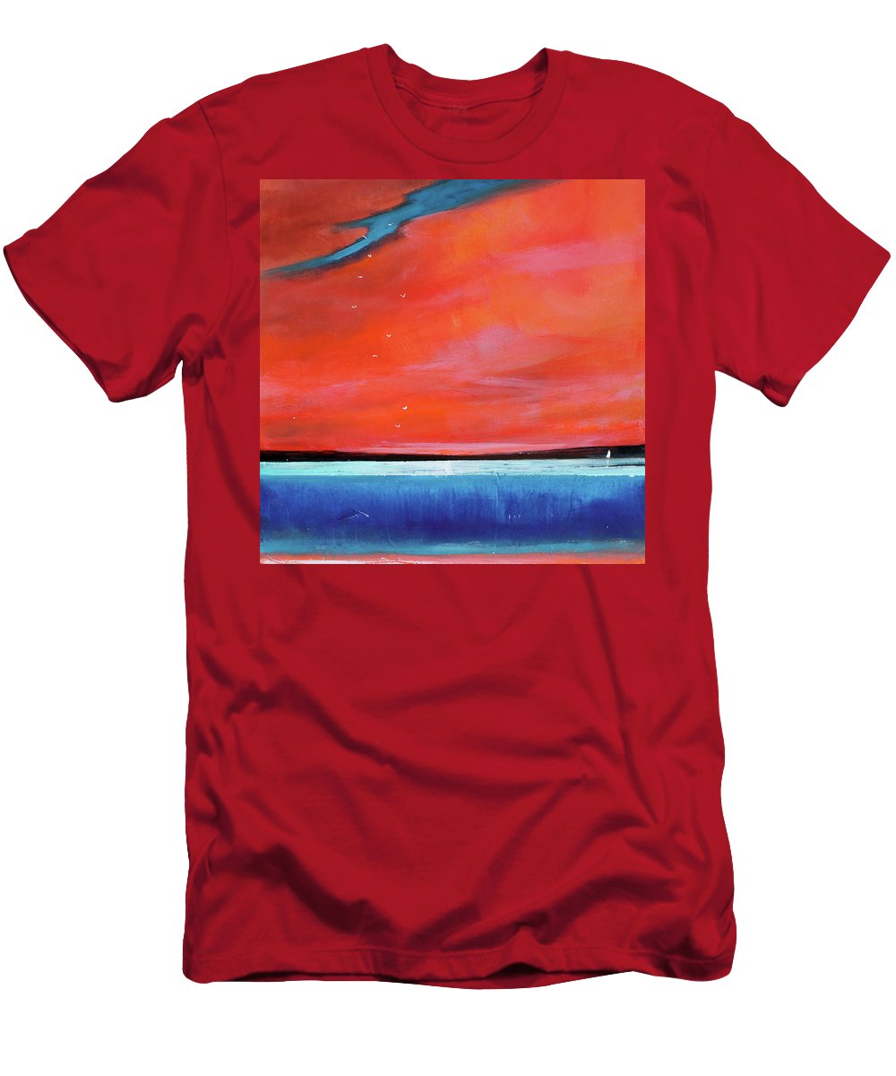Red Men's T-Shirt (Athletic Fit) featuring the painting Freedom Journey by Toni Grote