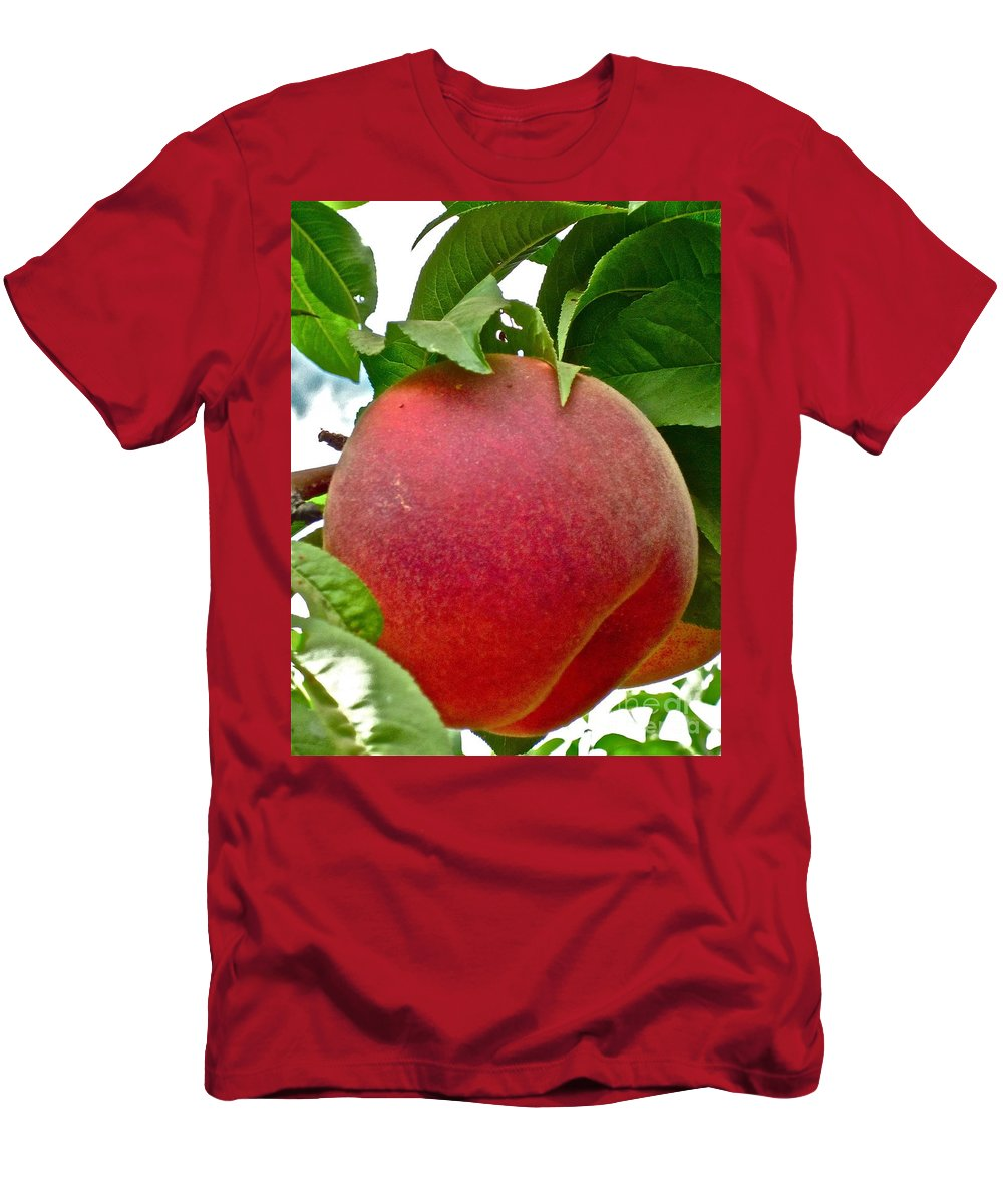 Peach Photograph Men's T-Shirt (Athletic Fit) featuring the photograph Fresh Peach by Gwyn Newcombe