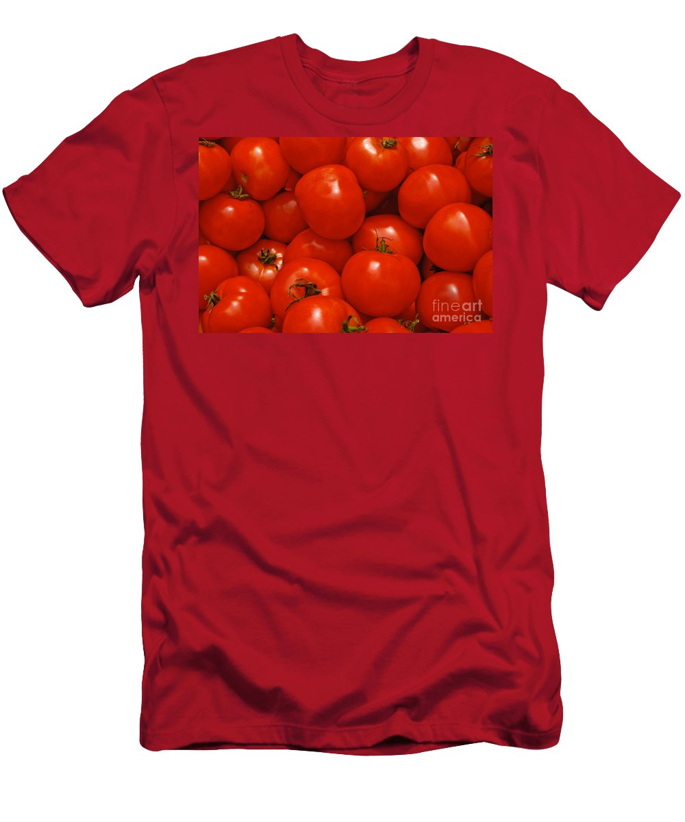 Tomato Men's T-Shirt (Athletic Fit) featuring the photograph Fresh Red Tomatoes by Thomas Marchessault