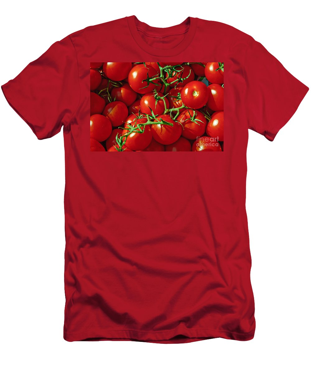Tomato Men's T-Shirt (Athletic Fit) featuring the photograph Fresh Tomotos On The Vine by Thomas Marchessault
