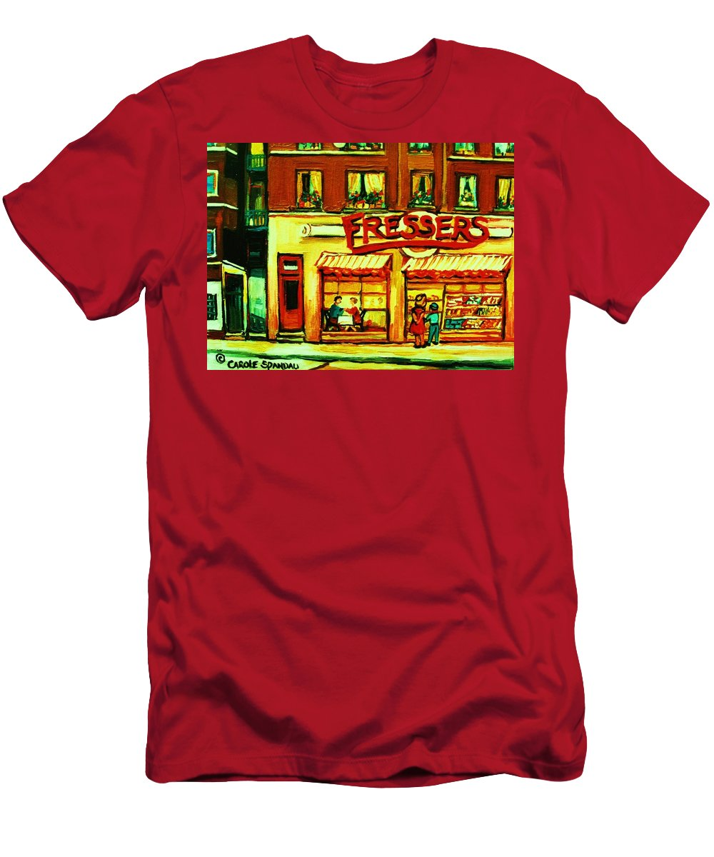 Fressers Men's T-Shirt (Athletic Fit) featuring the painting Fressers Takeout Deli by Carole Spandau