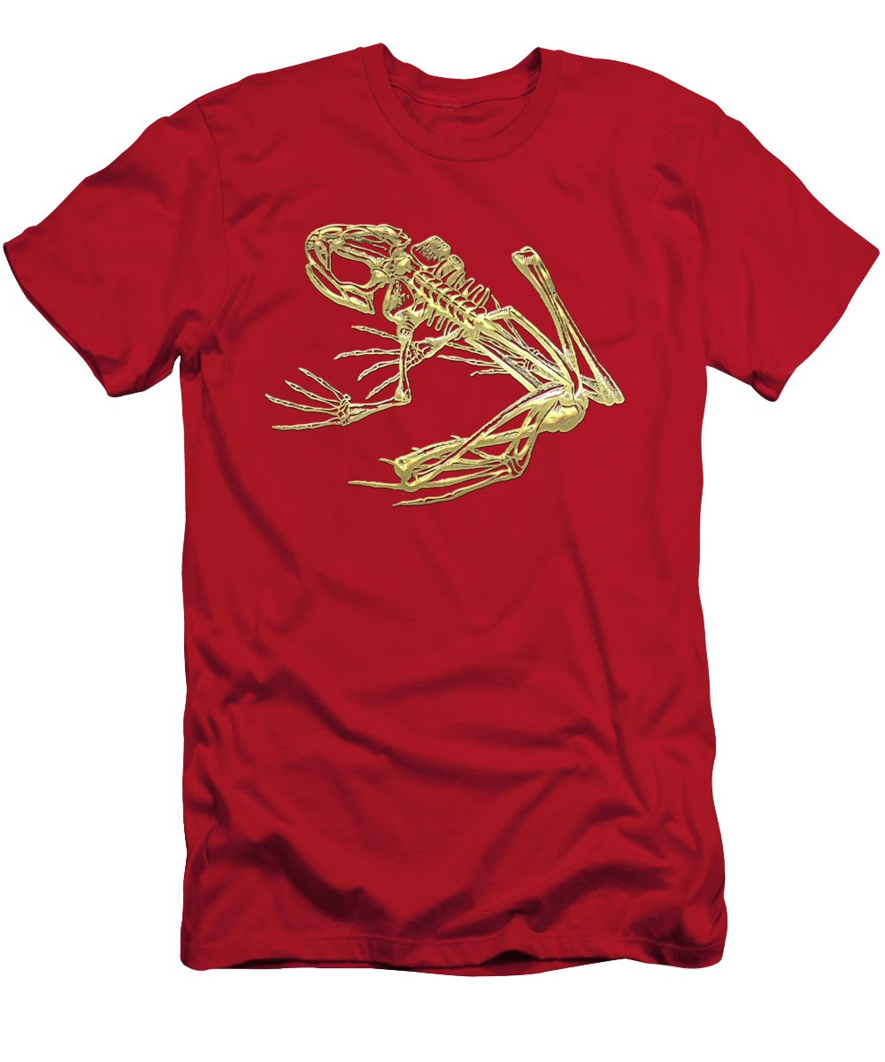 'precious Bones' Collection By Serge Averbukh Men's T-Shirt (Athletic Fit) featuring the digital art Frog Skeleton In Gold On Red by Serge Averbukh