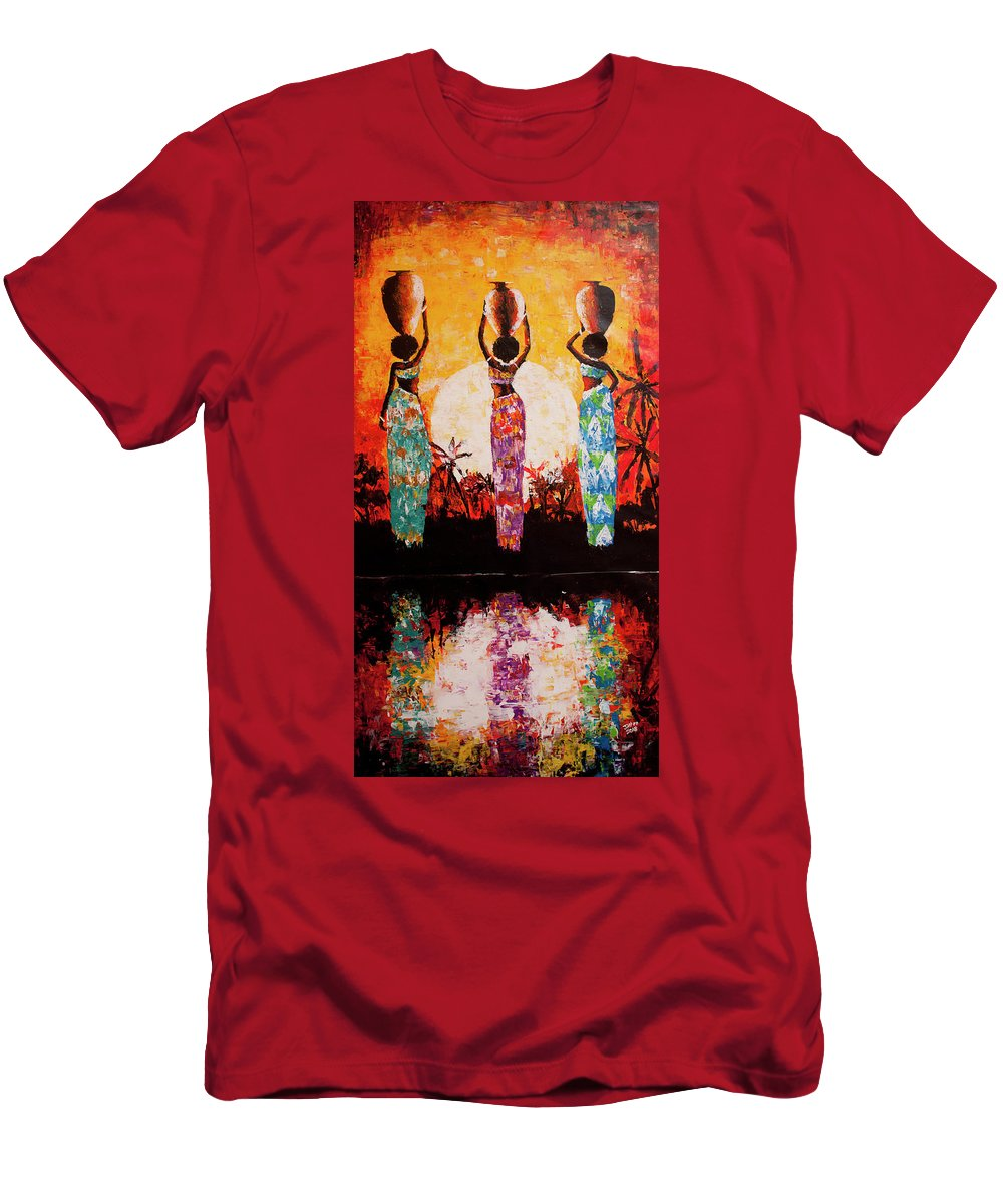 African Art Men's T-Shirt (Athletic Fit) featuring the painting From The River by Jethro Longwe