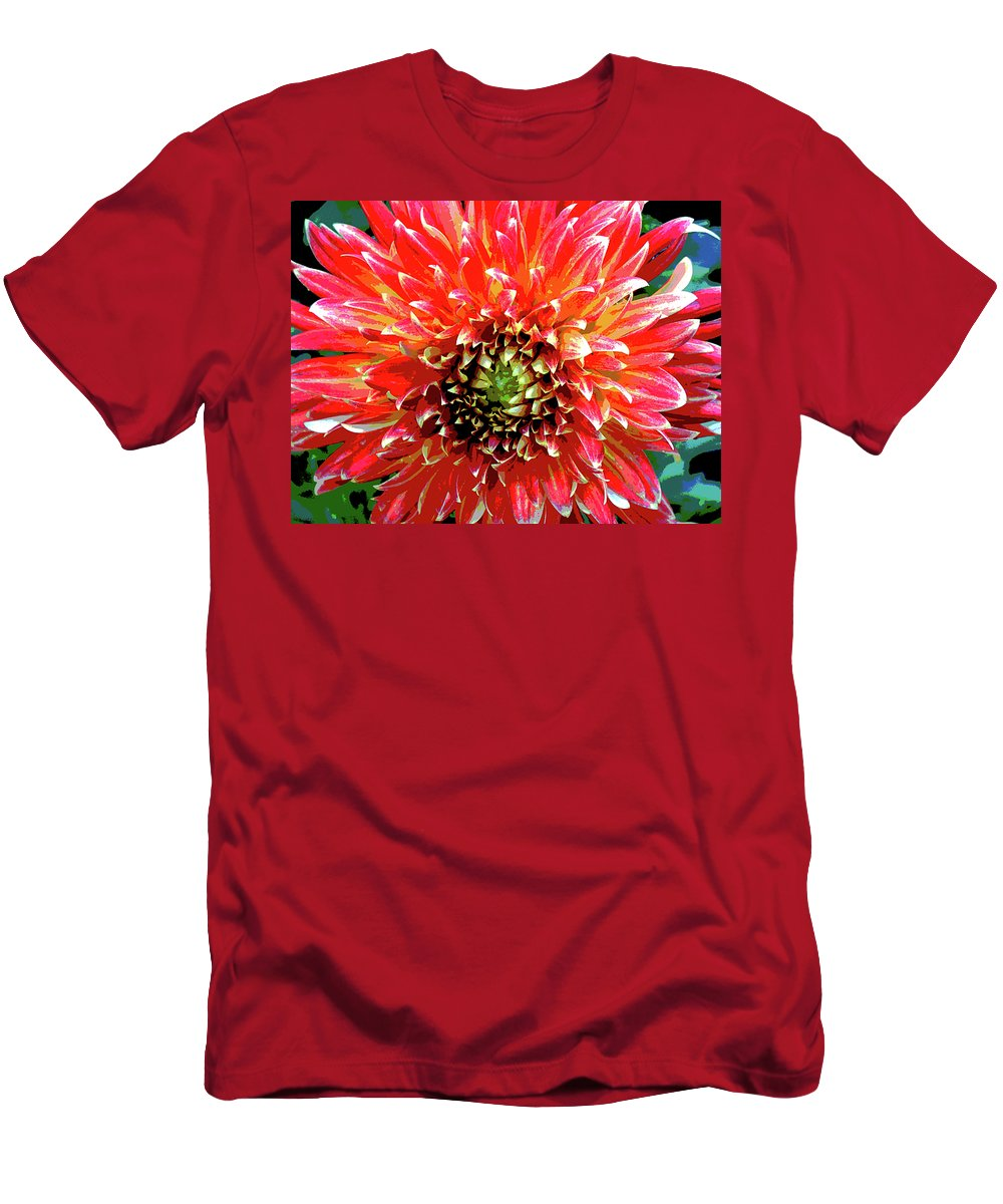 Flower Men's T-Shirt (Athletic Fit) featuring the photograph Full Of Fire II by Cathi Abbiss Crane