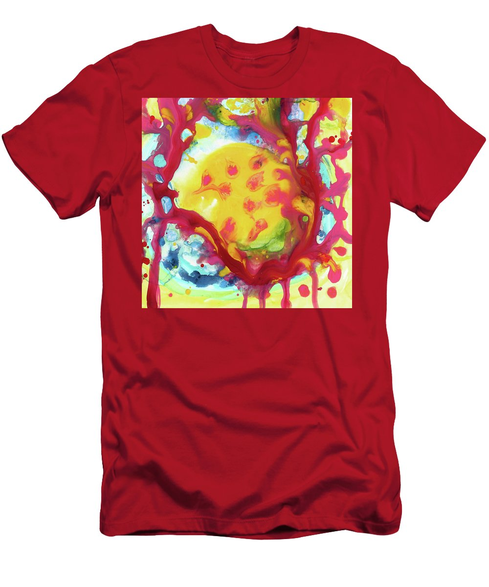 Moon Men's T-Shirt (Athletic Fit) featuring the mixed media Full Yellow Moon Resting In A Tree by Amy Vangsgard