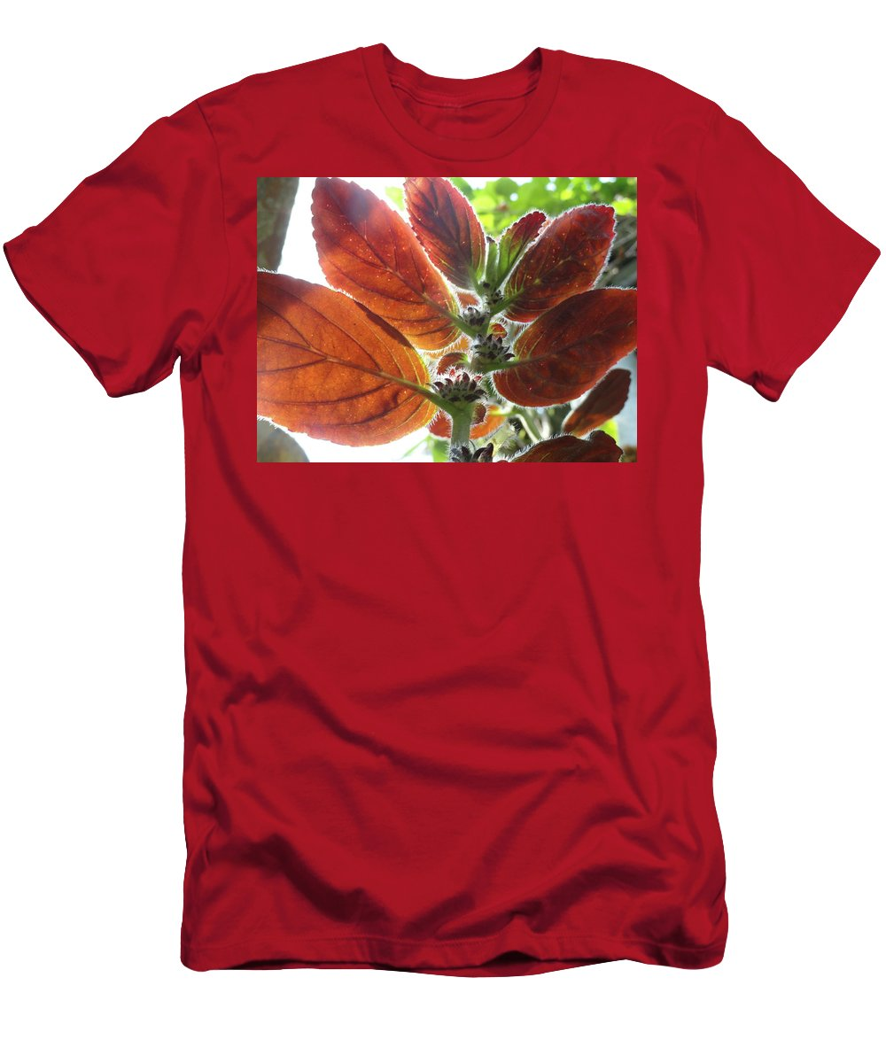 Red Men's T-Shirt (Athletic Fit) featuring the photograph Furry Flora 2 by Trish Hale