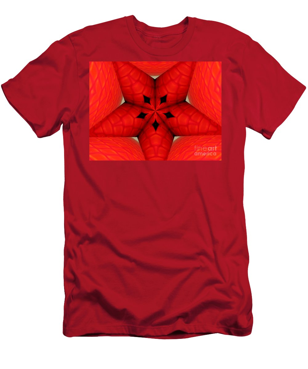 Kaleidoscope Men's T-Shirt (Athletic Fit) featuring the photograph Garden Glass Orb Kaleidoscope Abstract by Rose Santuci-Sofranko