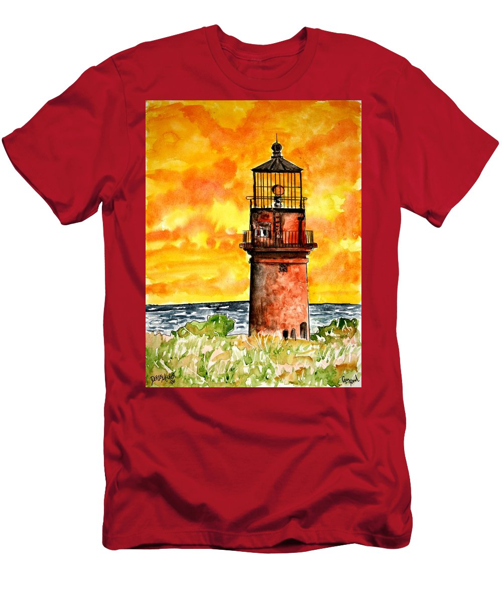 Beach Men's T-Shirt (Athletic Fit) featuring the painting Gay Head Lighthouse Martha's Vineyard by Derek Mccrea