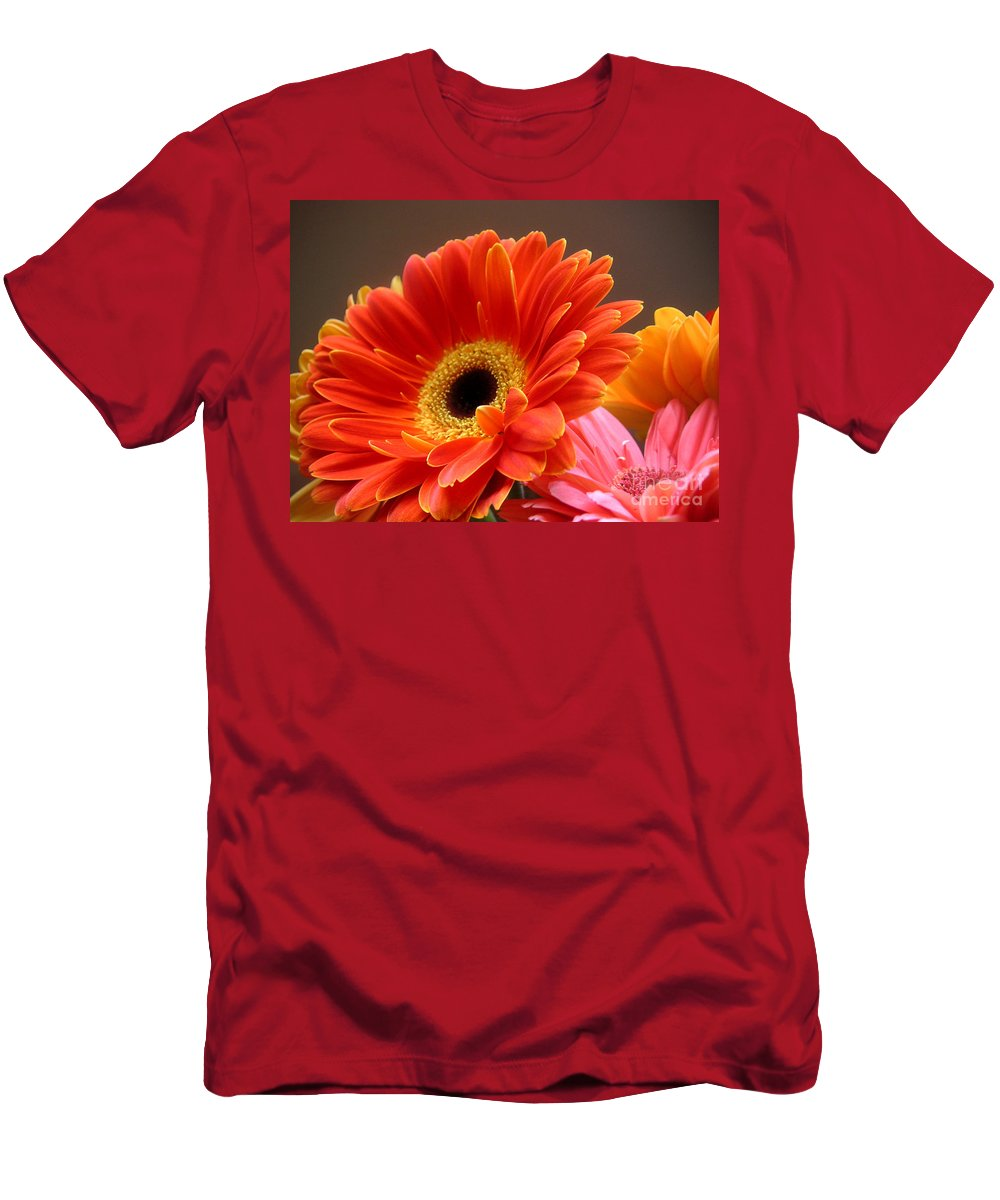 Nature Men's T-Shirt (Athletic Fit) featuring the photograph Gerbera Daisies - Luminous by Lucyna A M Green