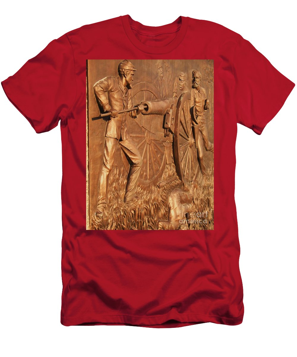 Gettysburg Men's T-Shirt (Athletic Fit) featuring the photograph Gettysburg Bronze Relief by Eric Schiabor