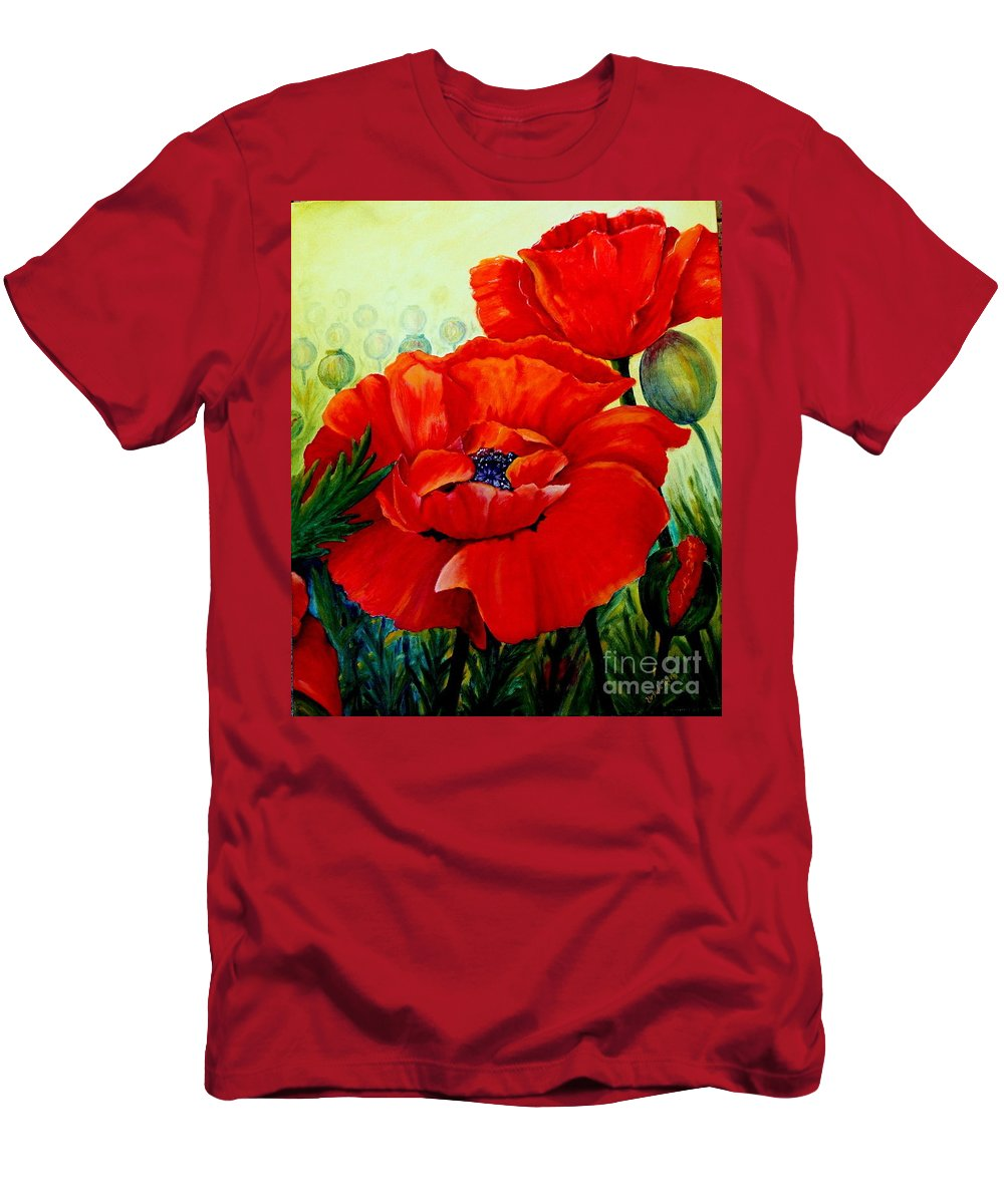 Poppies Men's T-Shirt (Athletic Fit) featuring the painting Giant Poppies 3 by Ursula Reeb