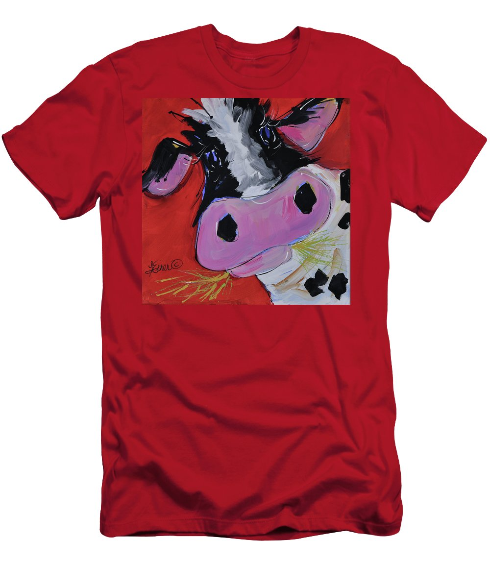 Cow Men's T-Shirt (Athletic Fit) featuring the painting Gladys by Terri Einer