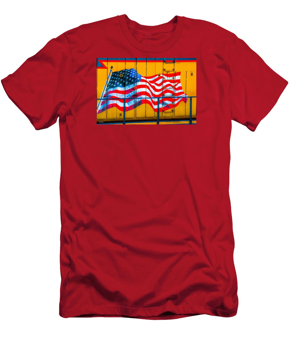 American Flag Men's T-Shirt (Athletic Fit) featuring the photograph Glory Train by Dean Arneson
