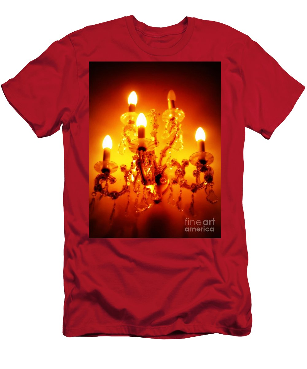 Dining Room Decor T-Shirt featuring the photograph Glowing Chandelier--Companion Piece by Carol Groenen