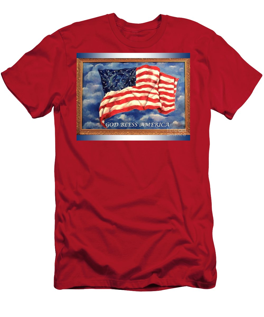 Lady Liberty....painting....usa....acrylic Men's T-Shirt (Athletic Fit) featuring the painting God Bless America by Lenna -Kay