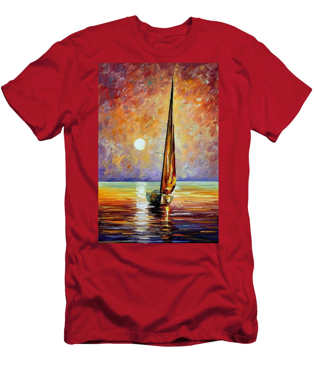 Afremov Men's T-Shirt (Athletic Fit) featuring the painting Gold Sail by Leonid Afremov