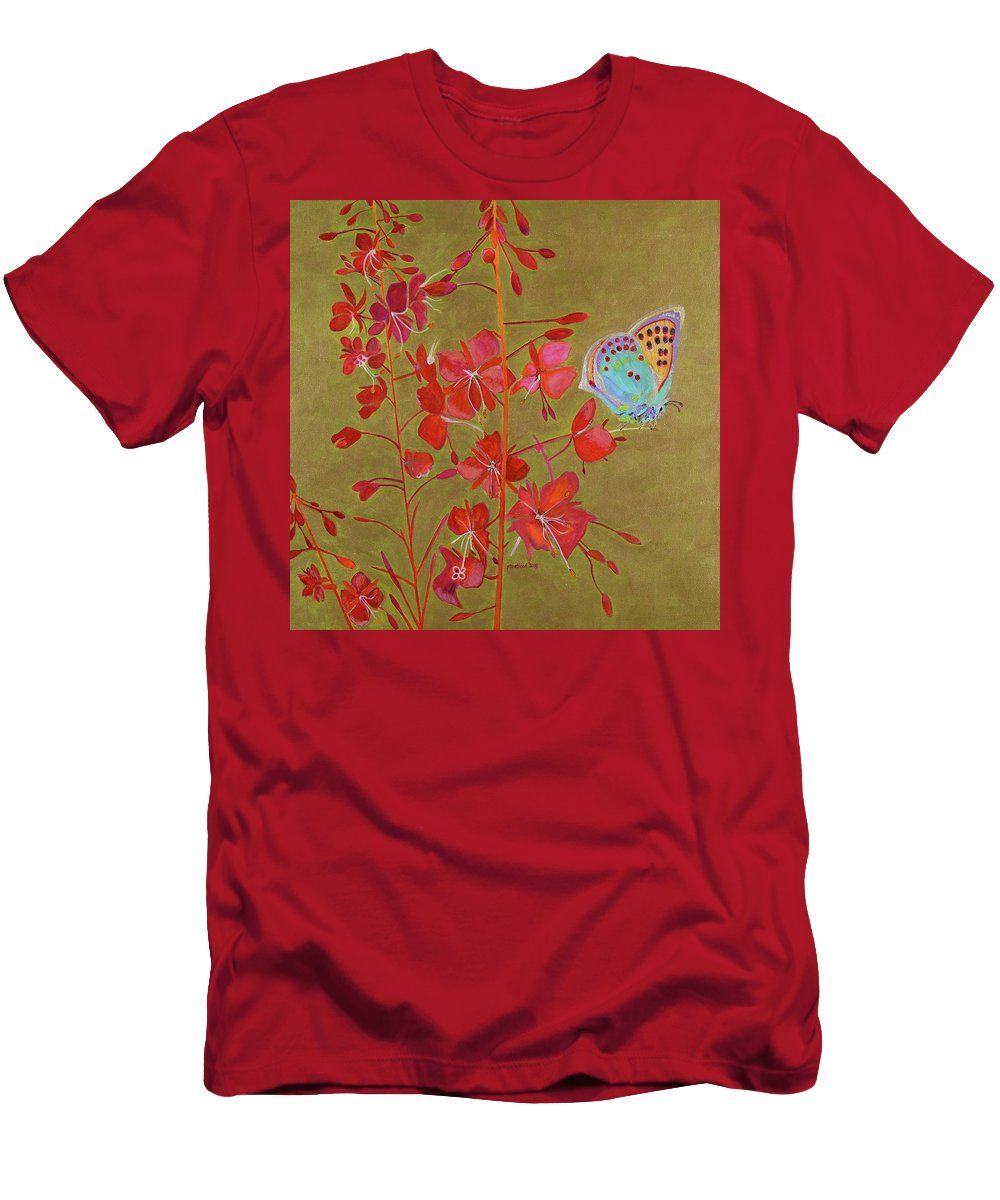 Fireweed Men's T-Shirt (Athletic Fit) featuring the painting Golden Fireweed by Pamela Trueblood