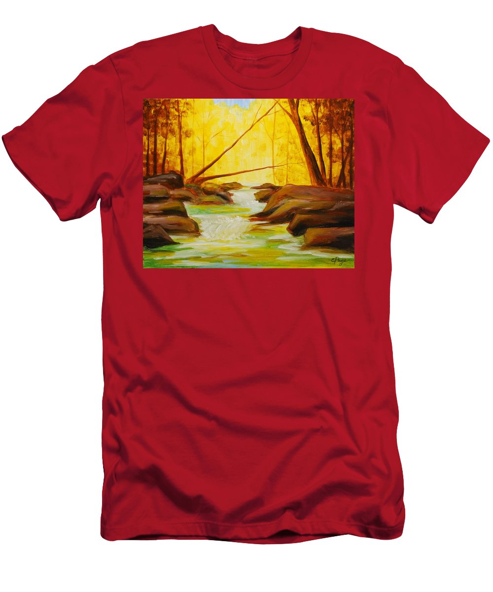 Creek Men's T-Shirt (Athletic Fit) featuring the painting Golden Hour by Emily Page