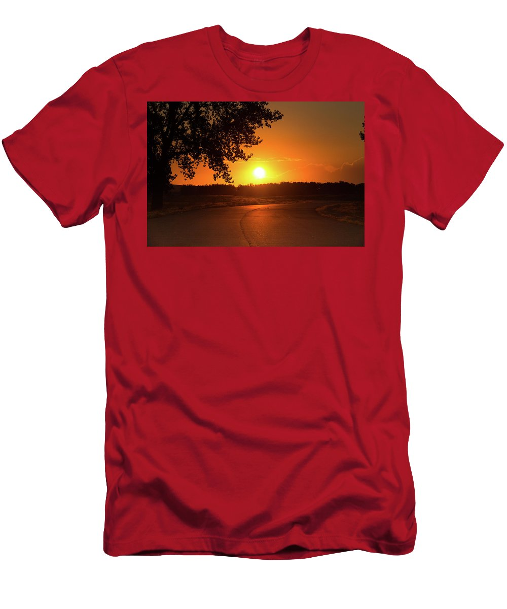 Sunrise Men's T-Shirt (Athletic Fit) featuring the photograph Golden Road Sunrise by Tony Hake