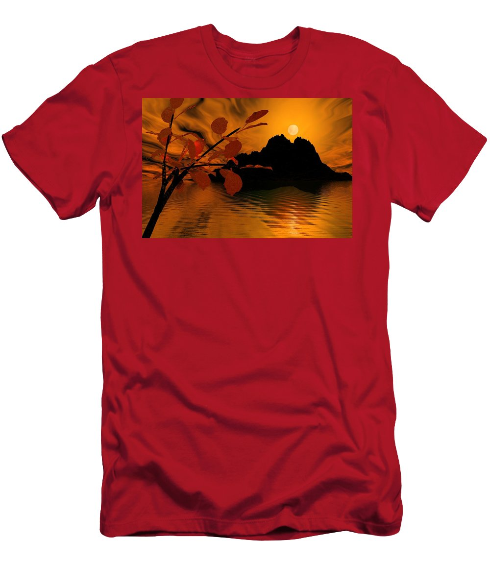 Landscape Men's T-Shirt (Athletic Fit) featuring the digital art Golden Slumber Fills My Dreams. by David Lane