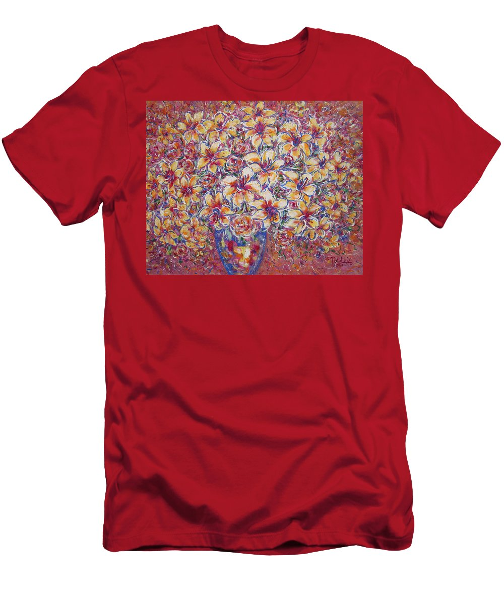 Lily Men's T-Shirt (Athletic Fit) featuring the painting Golden Splendor by Natalie Holland