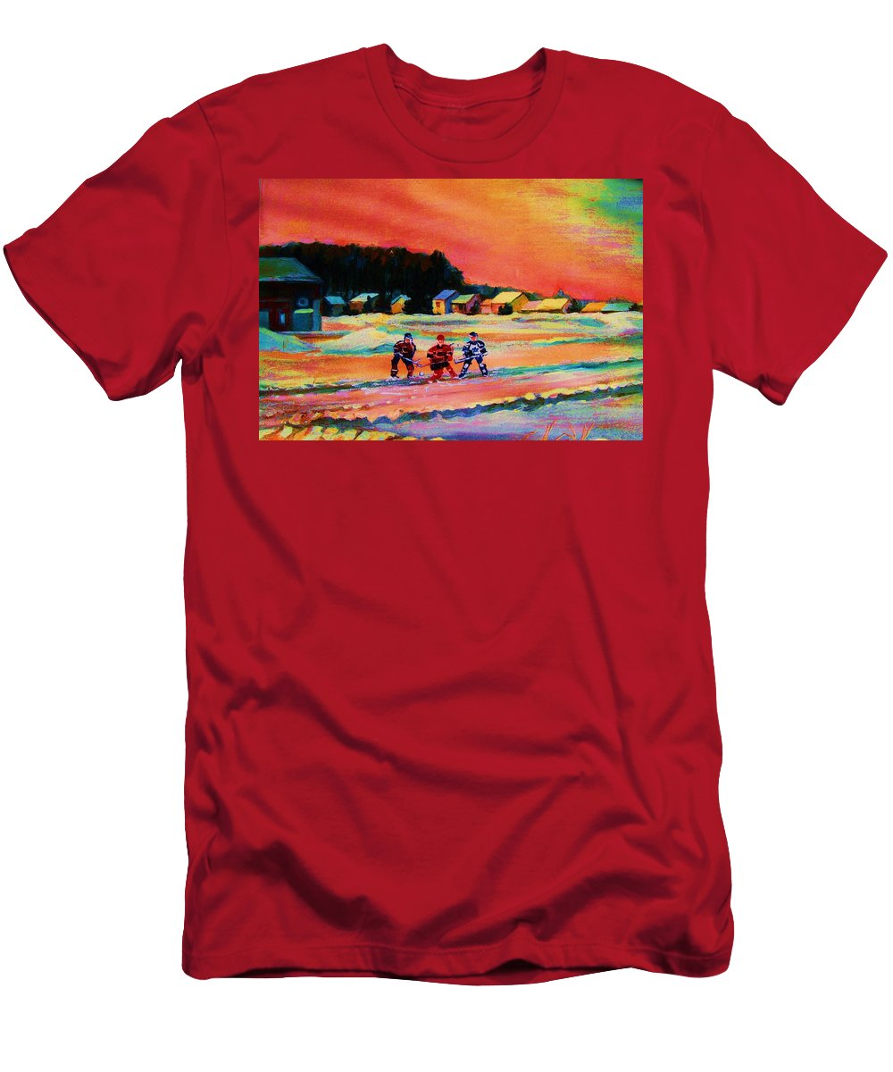 Hockey Landscape Men's T-Shirt (Athletic Fit) featuring the painting Gorgeous Day For A Game by Carole Spandau