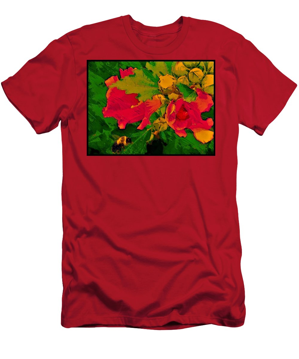 Gouache Men's T-Shirt (Athletic Fit) featuring the mixed media Gouache Painting Flower And Bumble Bee by Debra Lynch