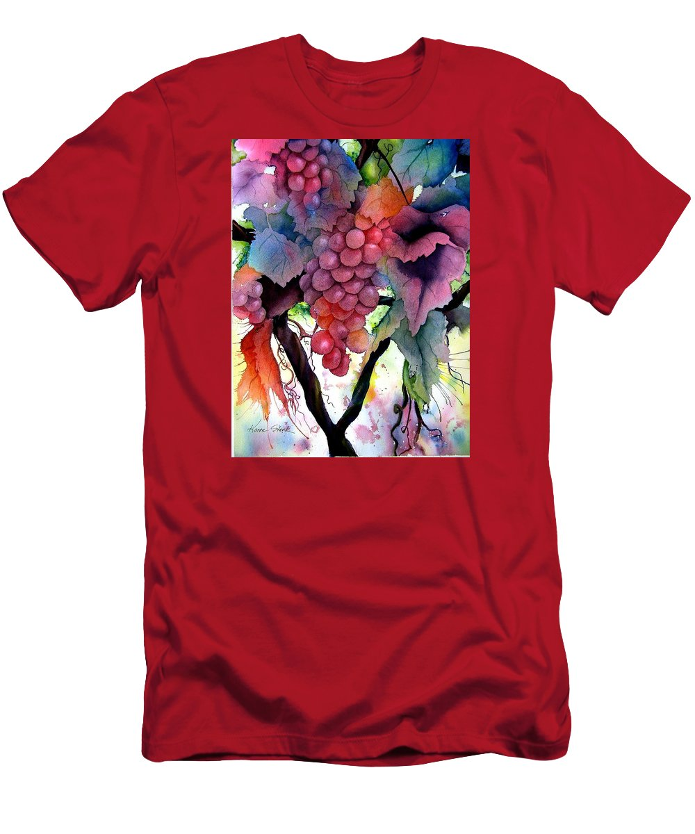 Grape Men's T-Shirt (Athletic Fit) featuring the painting Grapes IIi by Karen Stark