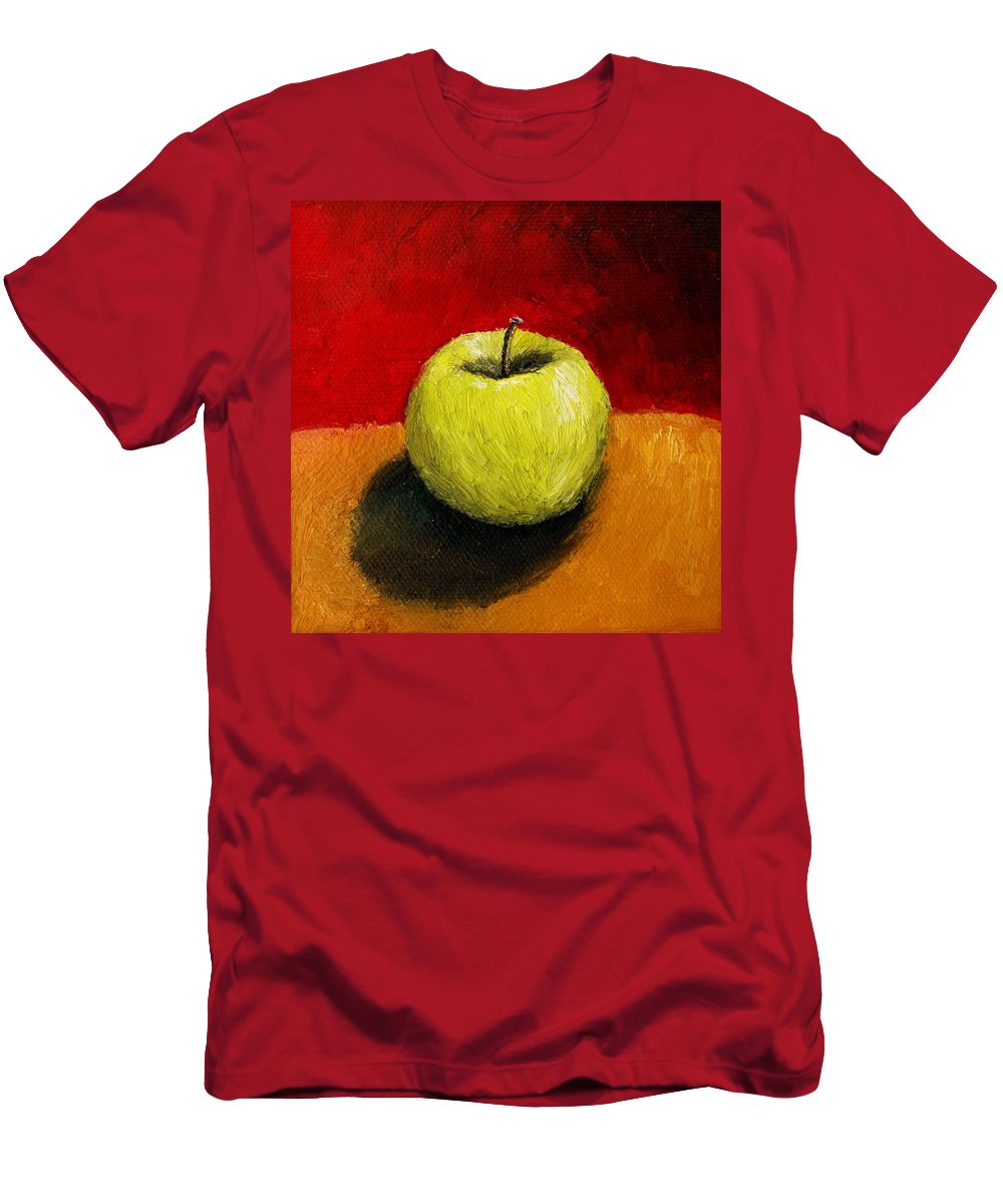 Apple Men's T-Shirt (Athletic Fit) featuring the painting Green Apple With Red And Gold by Michelle Calkins
