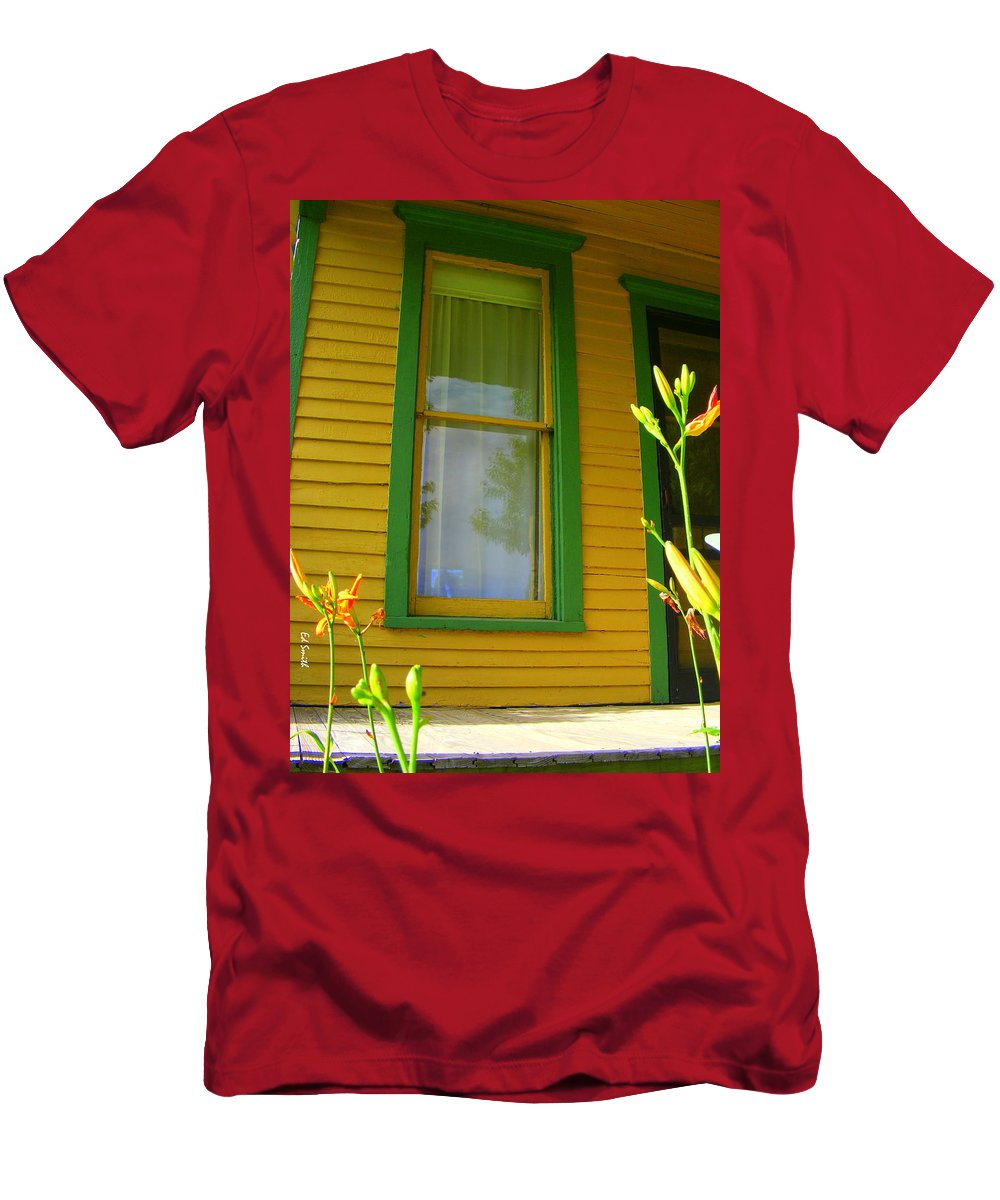 Green Window Men's T-Shirt (Athletic Fit) featuring the photograph Green Window by Edward Smith