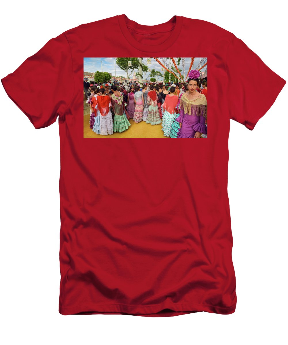 Young Men's T-Shirt (Athletic Fit) featuring the photograph Group Of Young Female Students Dressed In Flamenco Dresses At Th by Reimar Gaertner