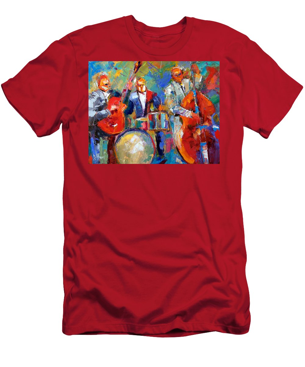 Jazz Painting Men's T-Shirt (Athletic Fit) featuring the painting Guitar Drums And Bass by Debra Hurd