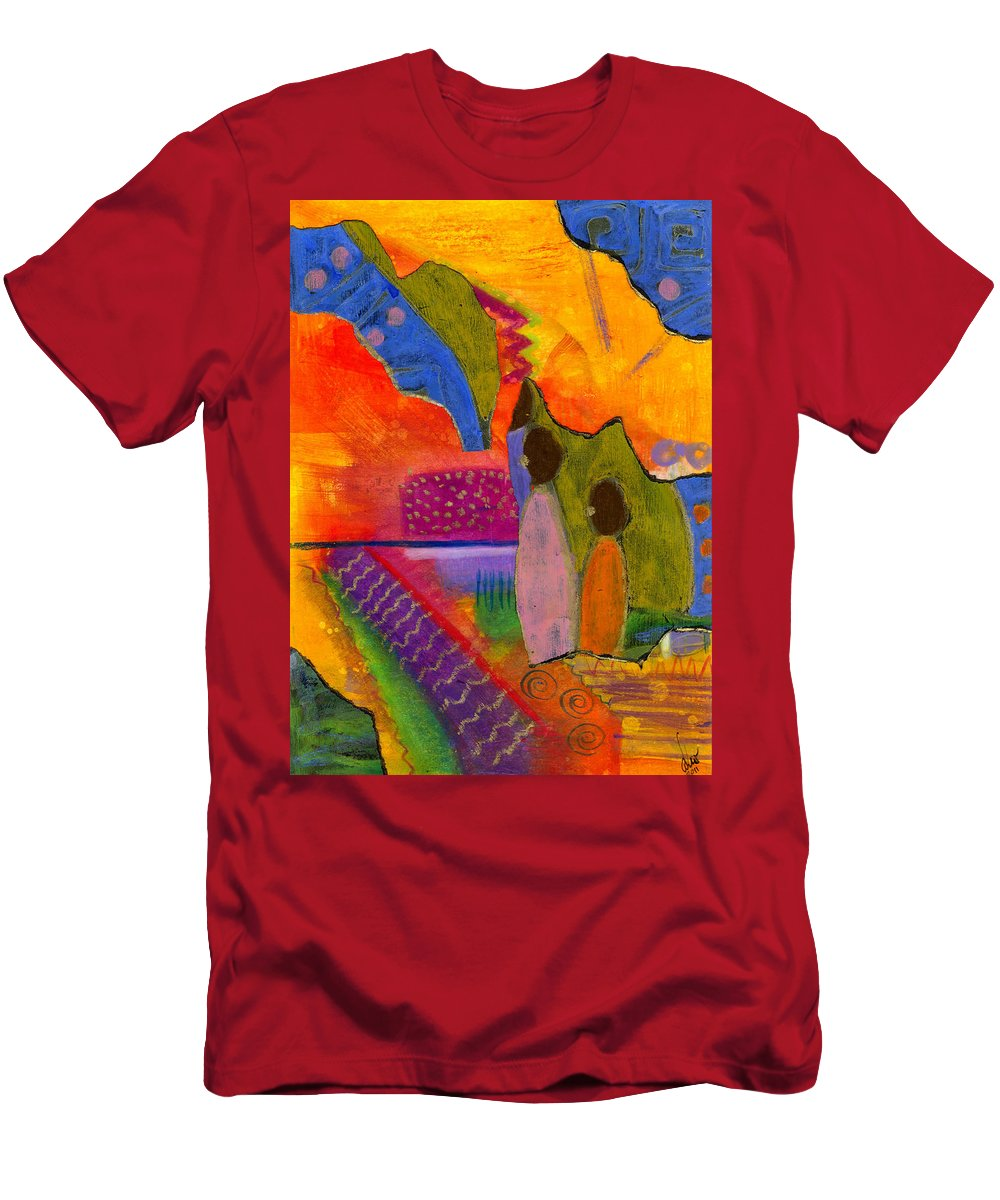 Collage Men's T-Shirt (Athletic Fit) featuring the painting Hallelujah Praise by Angela L Walker