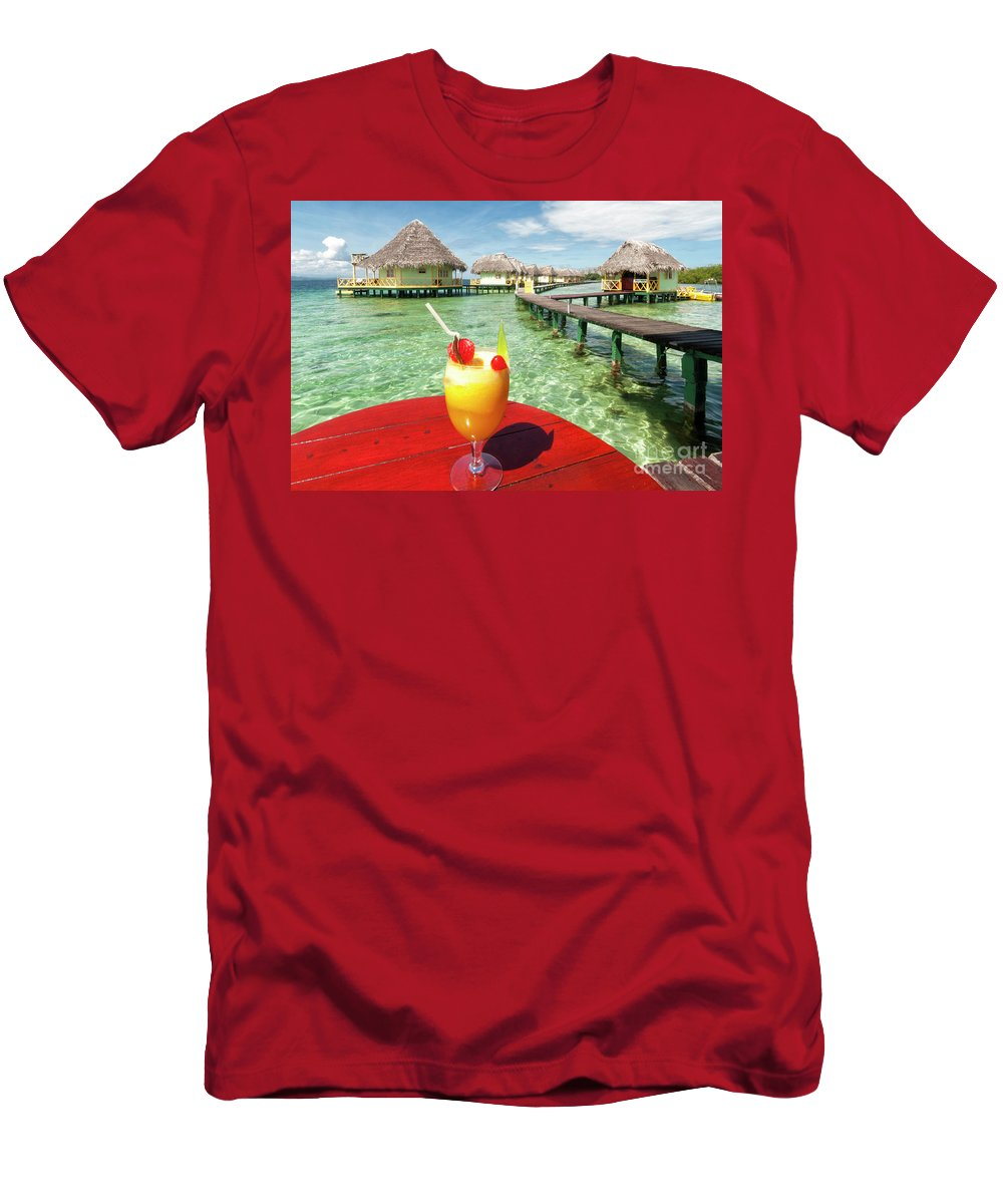 Bocas Del Toro Men's T-Shirt (Athletic Fit) featuring the photograph Happy Hour by Genevieve Vallee