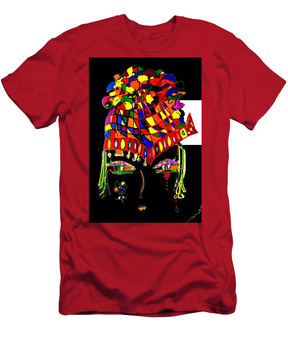 Modern Art Psychedelic Colors Men's T-Shirt (Athletic Fit) featuring the digital art Hat 2 Helmet With Flowers by Cj Carroll
