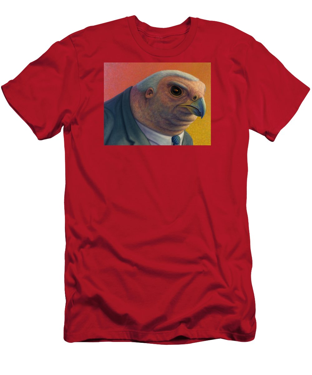 Hawk Men's T-Shirt (Athletic Fit) featuring the painting Hawkish by James W Johnson