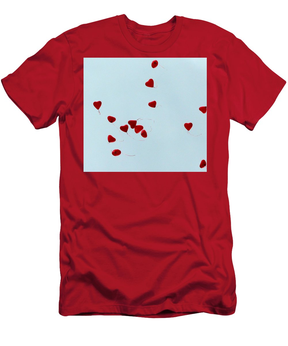 Balloon Men's T-Shirt (Athletic Fit) featuring the photograph Heart Balloons In The Sky by Valerie Ornstein