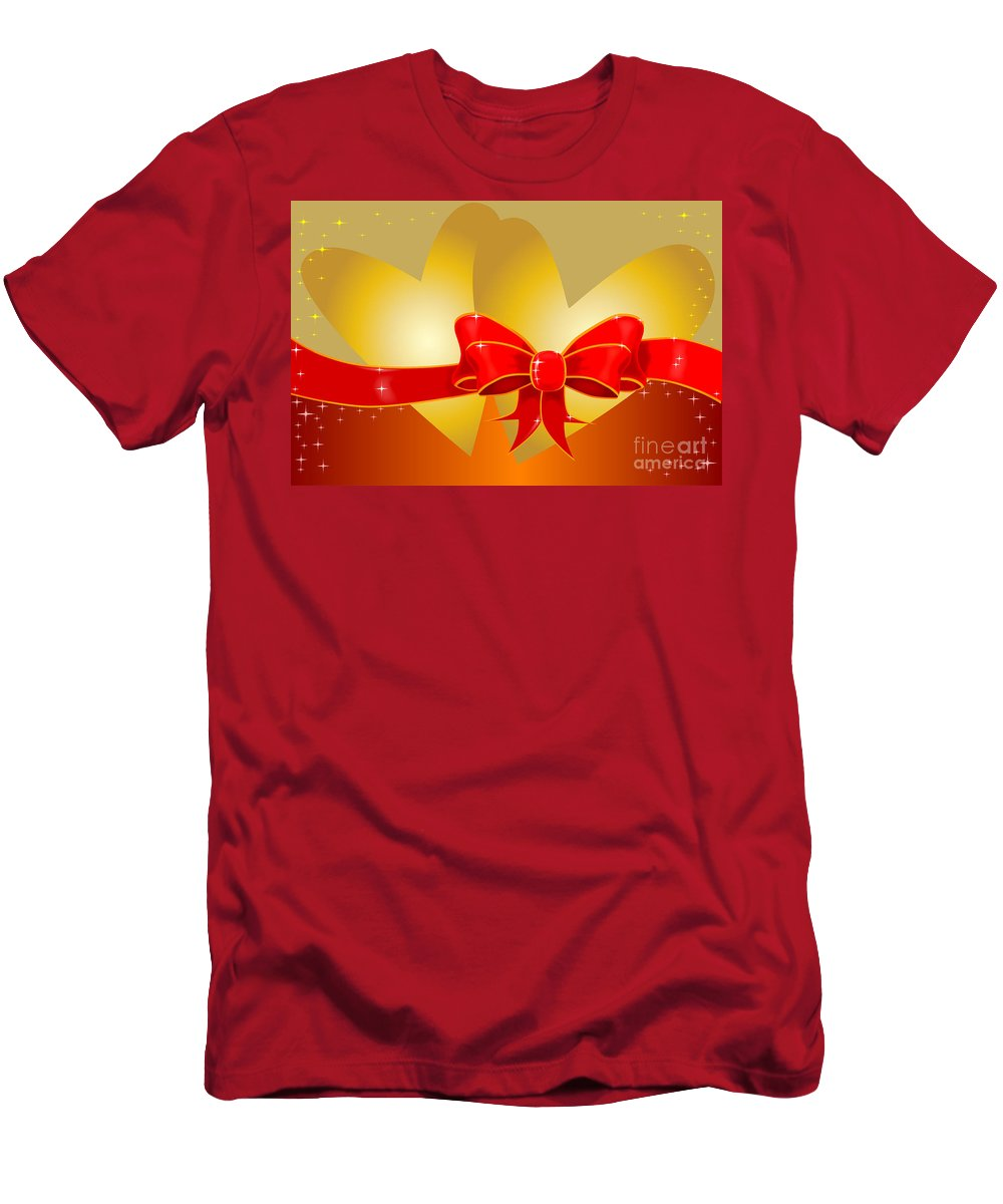 Valentine Men's T-Shirt (Athletic Fit) featuring the digital art Hearts And Bow by Bigalbaloo Stock