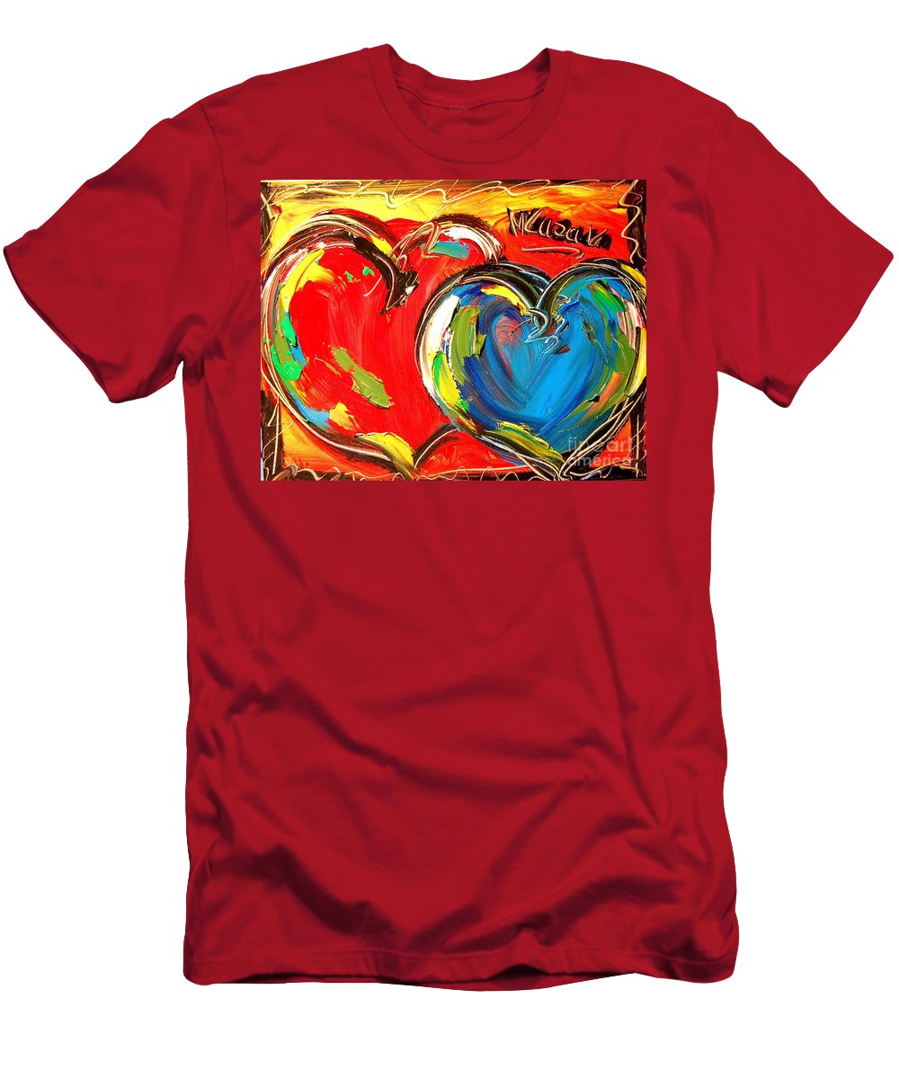 Hearts Blue Red Men's T-Shirt (Athletic Fit) featuring the painting Hearts by Mark Kazav
