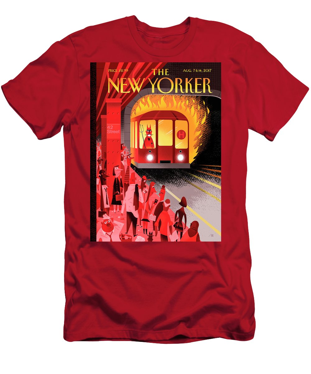 Hell Train T-Shirt featuring the drawing Hell Train by Bob Staake