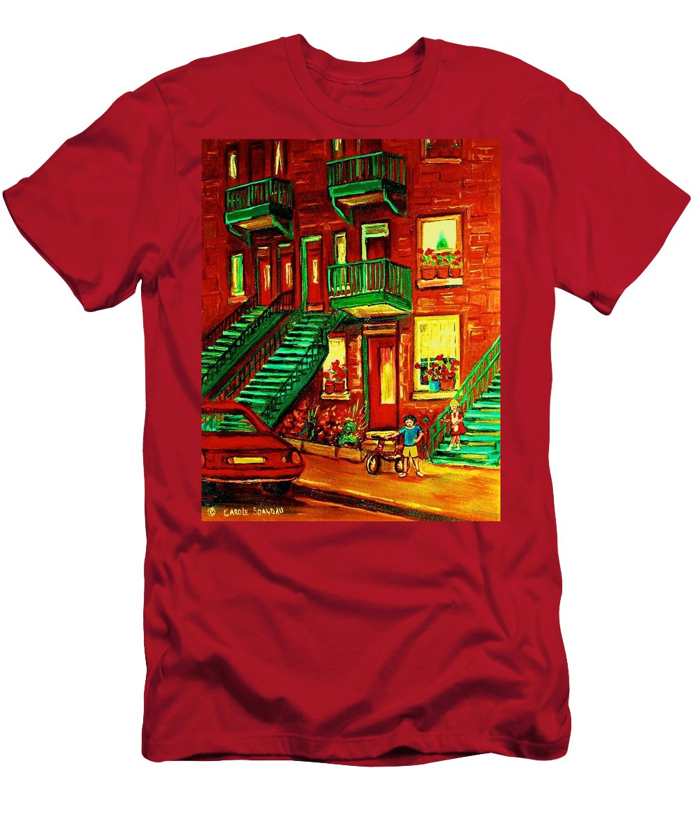 Little Girls Men's T-Shirt (Athletic Fit) featuring the painting Her Brand New Bike by Carole Spandau
