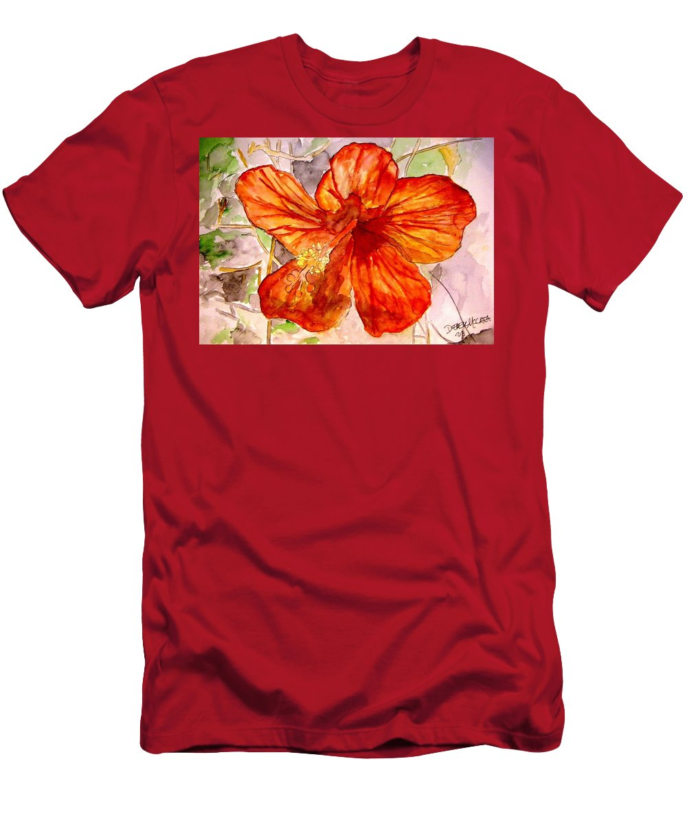 Hibiscus Men's T-Shirt (Athletic Fit) featuring the painting Hibiscus 2 by Derek Mccrea