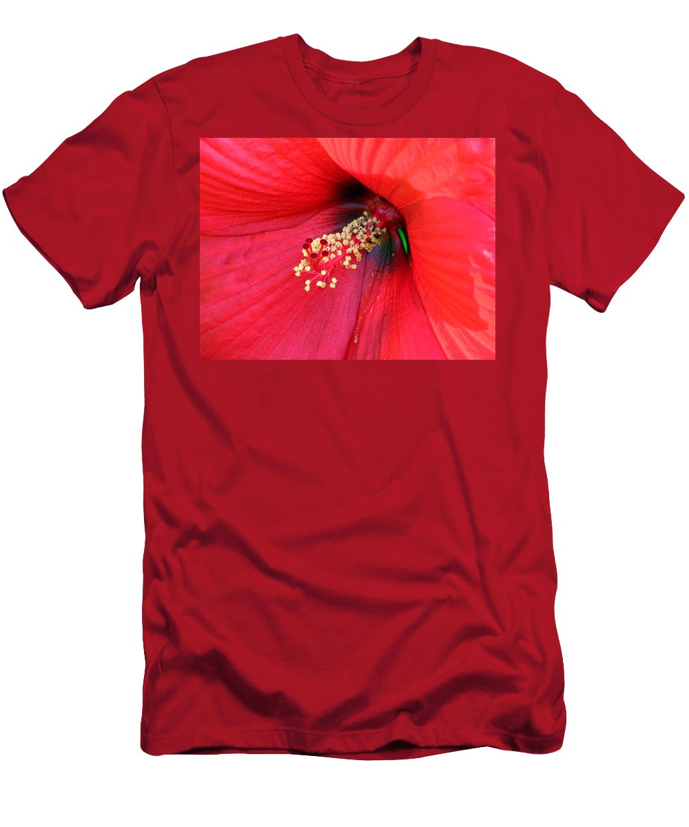 Hibiscus Men's T-Shirt (Athletic Fit) featuring the photograph Hibiscus Macro by J M Farris Photography